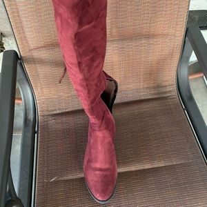 Wine knee high boots